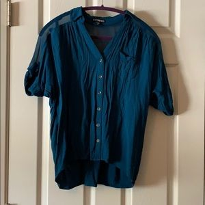 Blue buttoned up blouse from express.